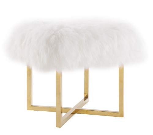 Nomo Sheepskin Bench - White/Gold