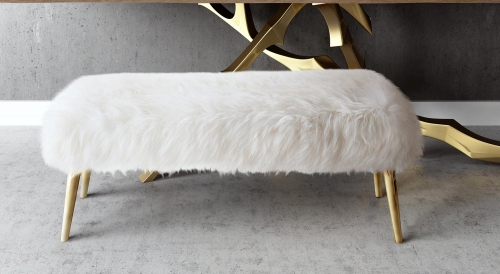 Churra Sheepskin Bench - White