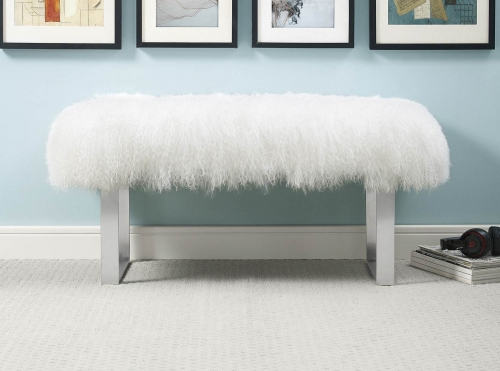 Sherpa Bench with Silver Base - White