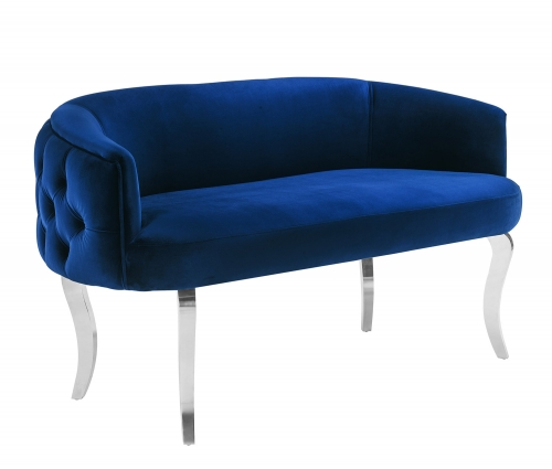 Adina Loveseat with Silver Legs - Navy
