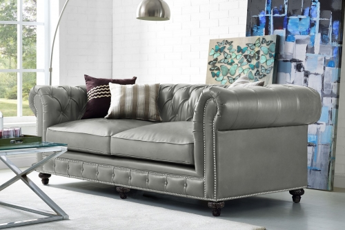 Durango Rustic Grey Leather Sofa