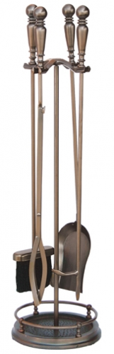 5 Pieces Venetian Brozne Fireset with Ball Handles - Uniflame