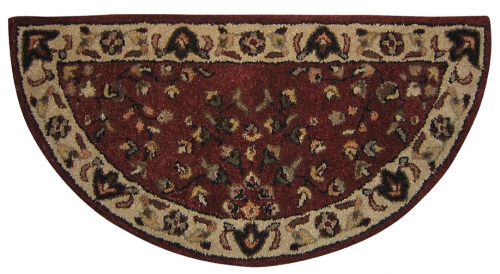 Hand-Tufted Wool Hearth Rug - Red w/ Beige - Uniflame