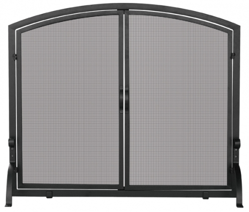 Large Black Panel Screen with Doors - Uniflame