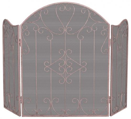 Ornate 3 Fold Screen - Copper - Uniflame