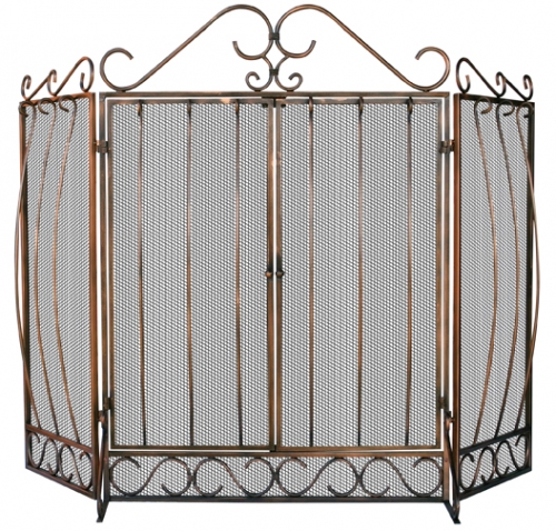 Venetian Bronze 3 Fold Screen with Bowed Bar Scrollwork - Uniflame