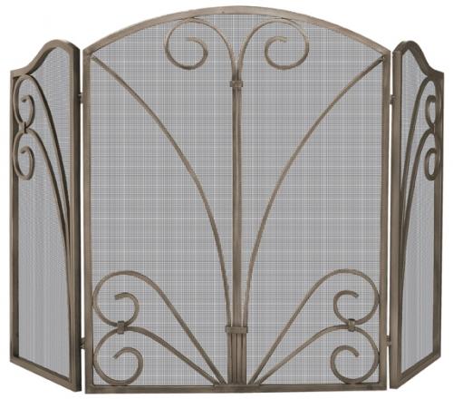 Venetian Bronze 3 Fold Screen with Decorative Scrollwork - Uniflame