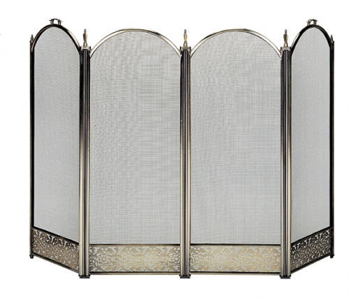Antique Brass 4 Fold Screen with Decorative Filigree - Uniflame