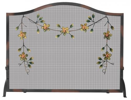 Burnish Broze Screen with Decorative Flowers - Uniflame