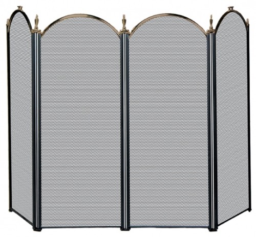 3 Fold Black Arch Top Screen with Doors - Uniflame