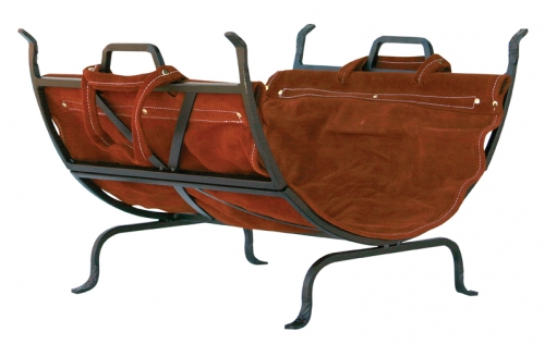 Olde World Iron Log Holder with Suede Leather Carrier - Uniflame