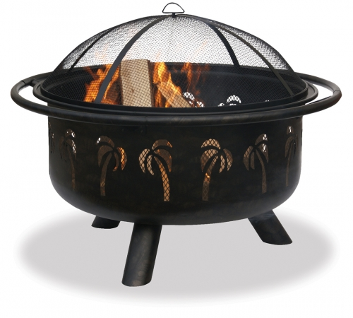 32 Inch Bronze Palm Tree Firebowl - Uniflame
