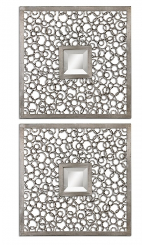 Colusa Squares Silver Mirror - Set of 2