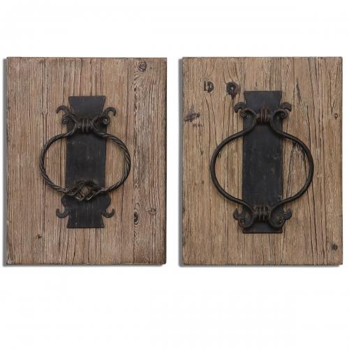 Rustic Door Knockers Wall Art - Set of 2