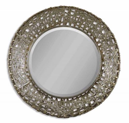 Alita Champagne Woven Metal Mirror