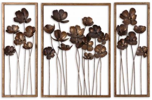 Metal Tulips Wall Art - Set of 3