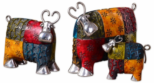 Colorful Cows Metal Figurines - Set of 3