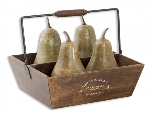 Decorative Pears In Basket - Set of 5