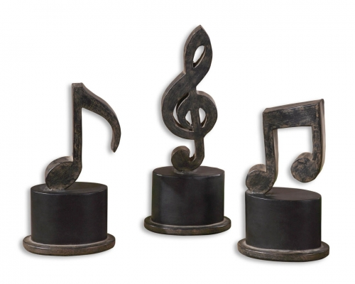 Music Notes Metal Figurines - Set of 3
