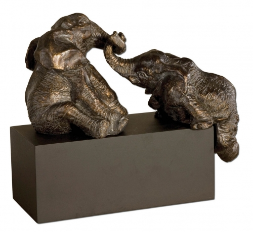 Playful Pachyderms Bronze Figurines