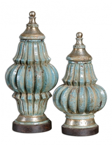 Fatima Sky Blue Decorative Urns - Set of 2
