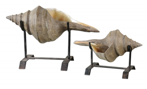 Conch Shell Sculpture - Set of 2