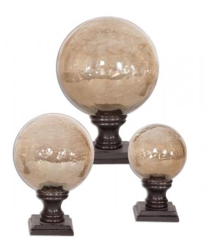 Lamya Glass Globe Finials - Set of 3