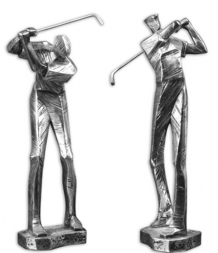 Practice Shot Metallic Statues - Set of 2