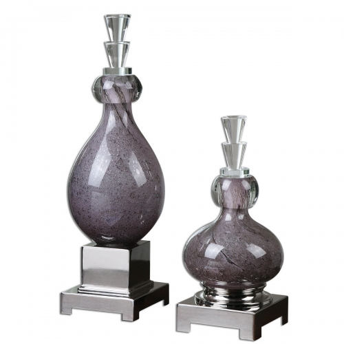 Charoite Purple Glass Bottles - Set of 2