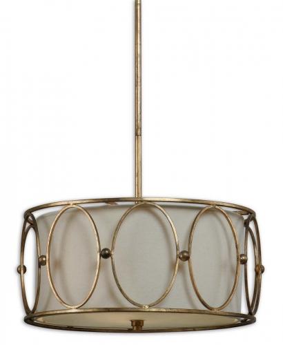 Ovala 3 Light Gold Drum Pendant