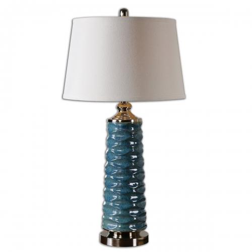 Delavan Rust Blue Table Lamp