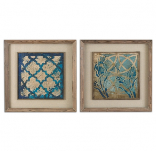 Stained Glass Indigo Art - Set of 2