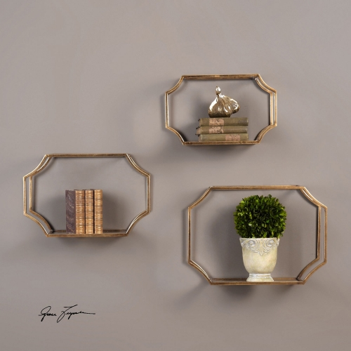 Lindee Gold Wall Shelves - Set of 3