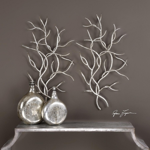 Silver Branches Wall Art - Set of 2