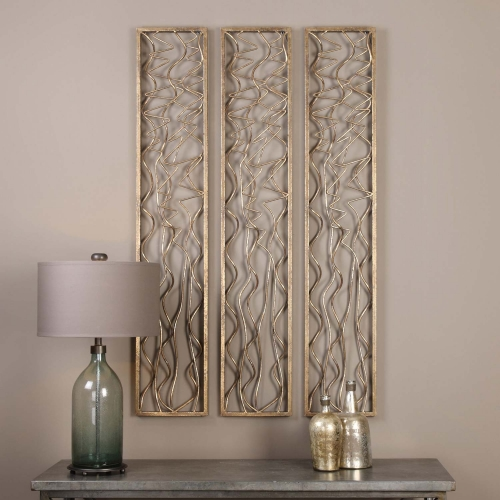 Scribble Aged Gold Wall Panel