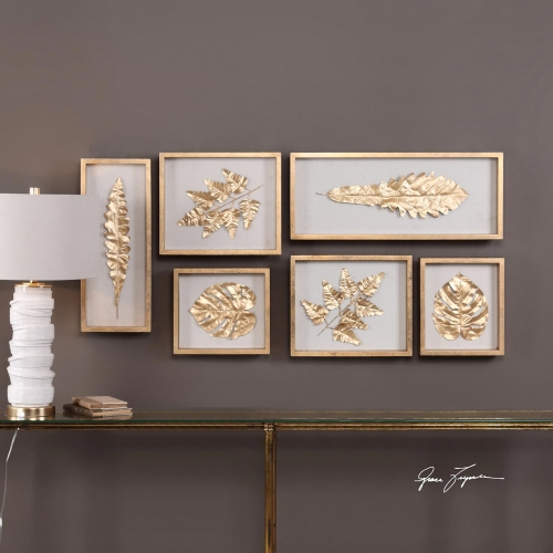 Golden Leaves Shadow Box - Set of 6