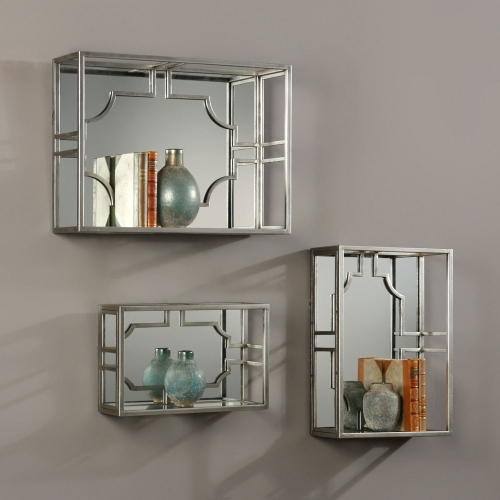 Adoria Silver Wall Shelves - Set of 3