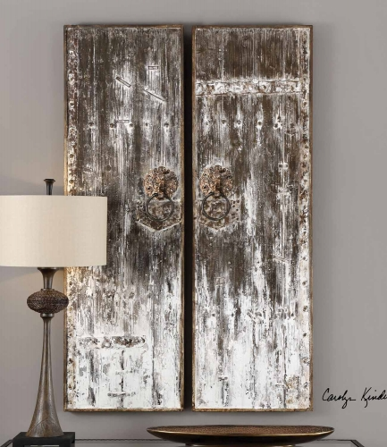 Giles Aged Wood Wall Art - Set of 2