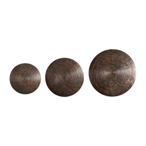 Hanneli Ribbed Bronze Circles - Set of 3