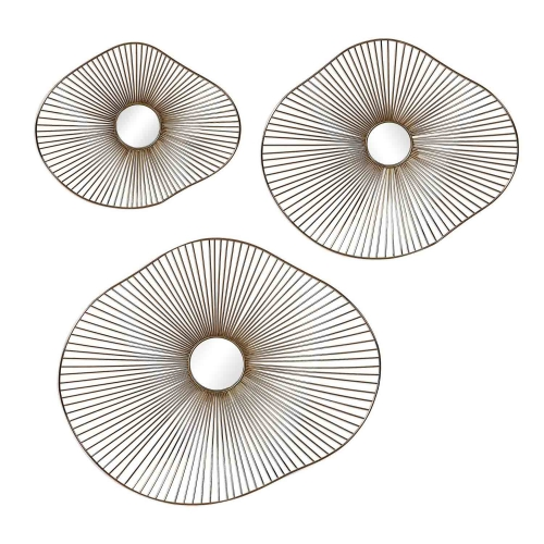 Avarie Wall Art - Set of 3 - Gold Metal
