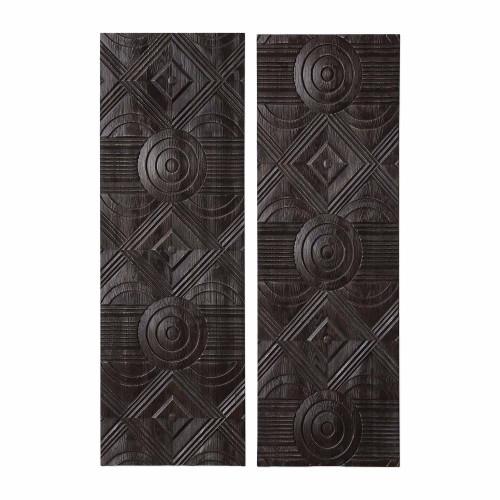 Asuka Carved Wood Wall Panels - Set of 2