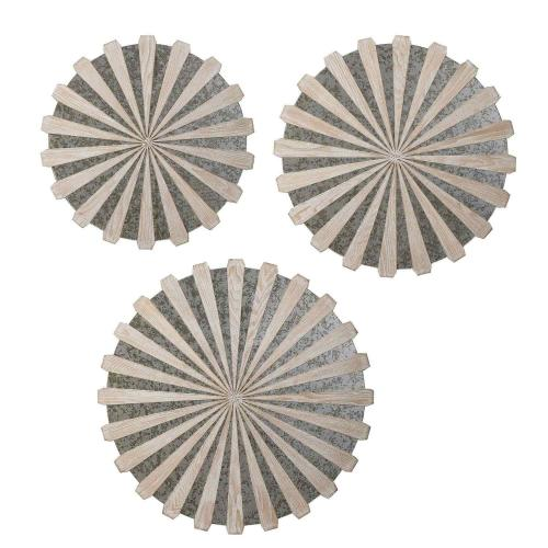 Daisies Mirrored Circular Wall Decor - Set of 3