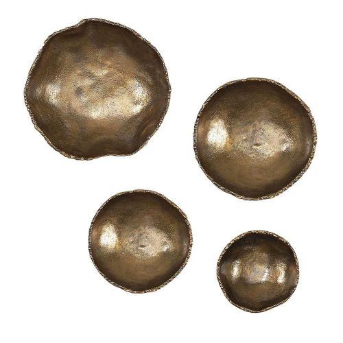 Lucky Coins Brass Wall Bowls - Set of 4