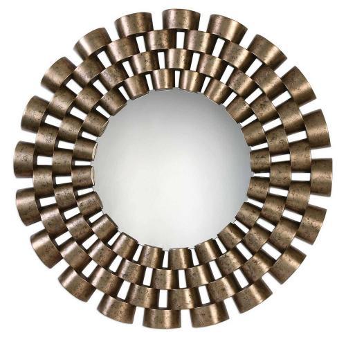 Taurion Leaf Round Mirror - Silver