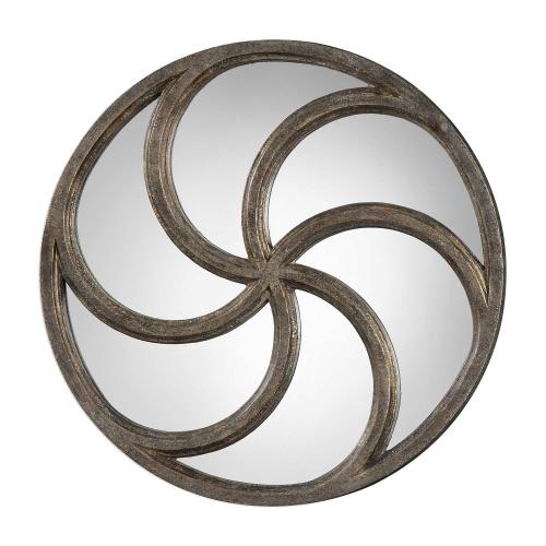 Spiralis Antiqued Round Mirror - Silver