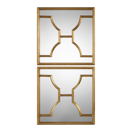 Misa Gold Square Mirrors - Set of 2