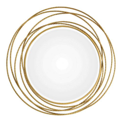 Whirlwind Round Mirror - Gold