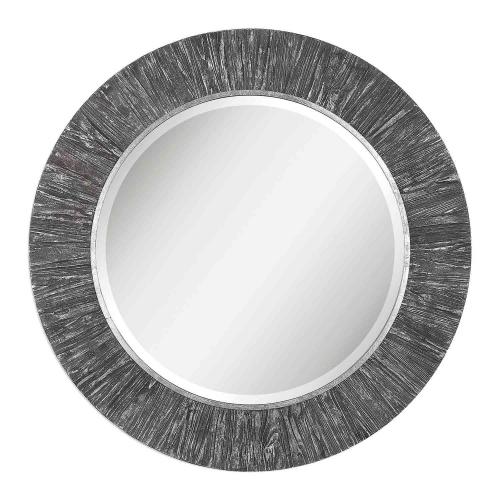 Wenton Round Mirror - Aged Wood