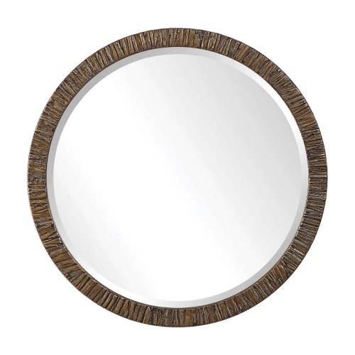 Wayde Round Mirror - Gold Bark