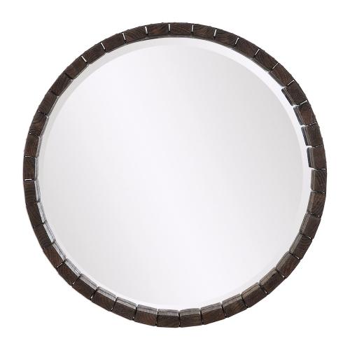 Islay Round Mirror - Dark Oak